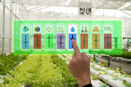 Photo pour internet of things industrial agriculture and smart farming concept,farmer point hand to use augmeted reality application to control monitor and controlling conditon of vegetable in the greenhouse - image libre de droit