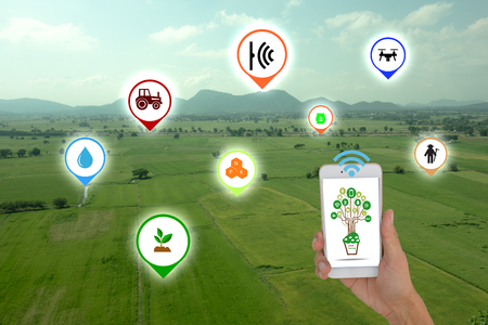 Photo pour Internet of things(agriculture concept),smart farming, smart agriculture.The farmer using application in phone to control and monitor the condition by wireless sensor system in the agriculture field - image libre de droit