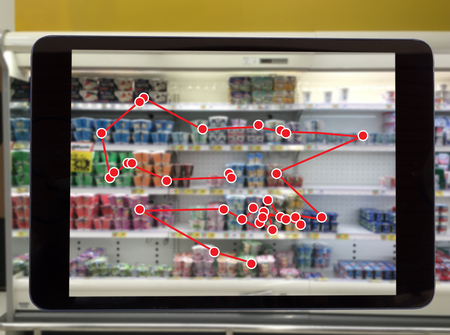 Photo pour smart retail concept, robot service use for check the data of or Stores that stock goods on shelves with easily-viewed barcode and prices or photo compared against an idealized representation of store - image libre de droit