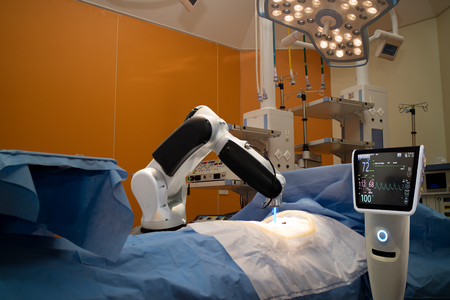 Photo for advanced robotic surgery machine at Hospital,some of major advantages of robotic surgery are precision, miniaturisation, smaller incisions, decreased blood loss, less pain, and quicker healing time - Royalty Free Image