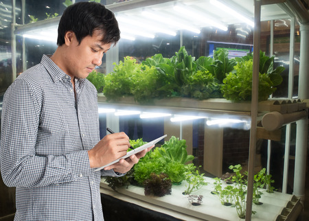 Foto de smart agriculture in futuristic concept, farmer use technology to monitor, control and adjustment led, atmosphere,humidity, water level and keep tracking harvesting time in vertical or indoor farming  - Imagen libre de derechos