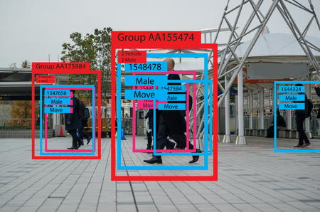 Photo pour iot machine learning with human and object recognition which use artificial intelligence to measurements ,analytic and identical concept, it invents to classification,estimate,prediction, database - image libre de droit