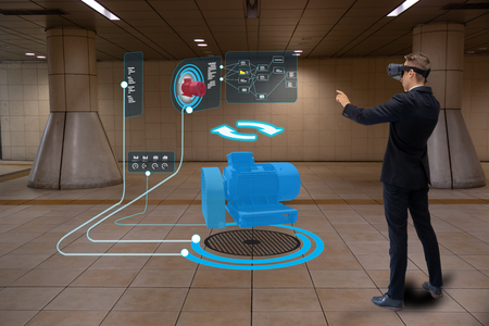 Foto de iot smart technology futuristic in industry 4.0 concept, engineer use augmented mixed virtual reality to education and training, repairs and maintenance, sales, product and site design, and more. - Imagen libre de derechos