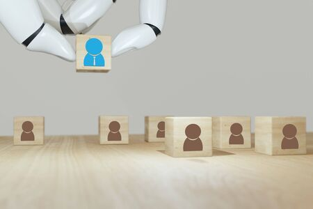 Photo for 3d rendering Robot hand put ,pick or choose the one who got idea or special or right man for job than other in human resources management (hrm) or recruitment in business concept - Royalty Free Image