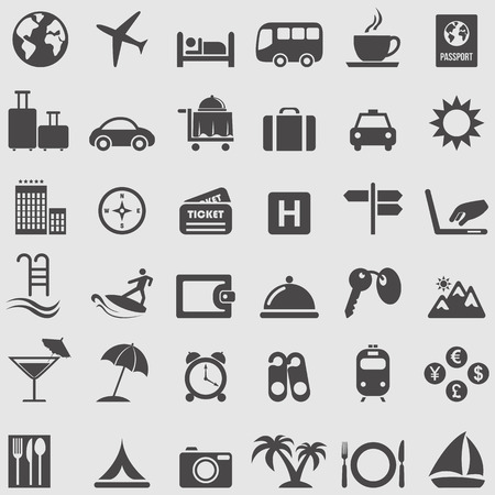 Illustration for Travel and Tourism icons set  - Royalty Free Image