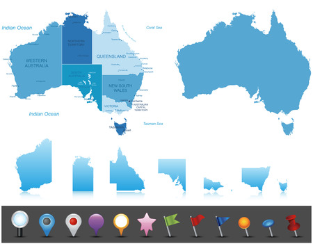 Illustration for Australia - highly detailed map All elements are separated in editable layers clearly labeled   - Royalty Free Image