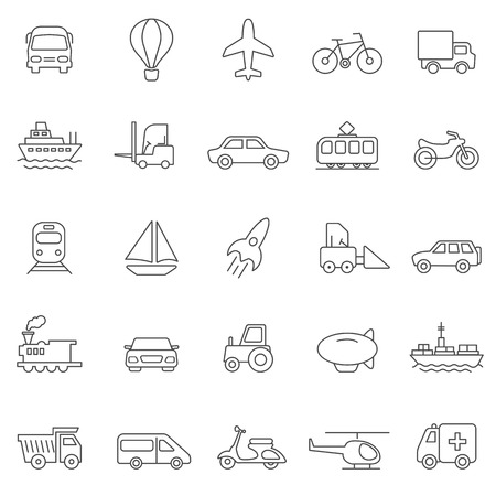 Illustration pour Transportation line icons set.Vector - image libre de droit