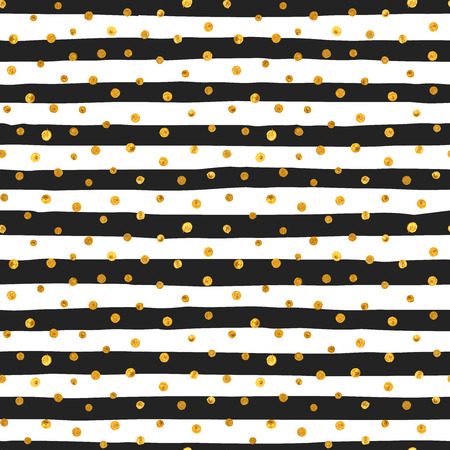 Illustration pour Seamless pattern of random gold dots on trendy background of white and black stripes. Elegant pattern for background, textile, paper packaging and other design. Vector illustration. - image libre de droit