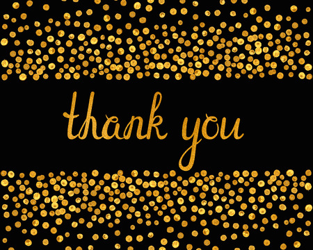 Illustration pour Thank you inscription with falling golden dots on black background. Handwritten letters with gold texture. You can use it for invitation, flyer, postcard, greeting card, banner. Vector illustration. - image libre de droit