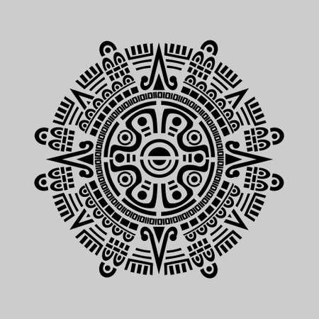Illustration for Vector of mayan calendar in grey background - Royalty Free Image