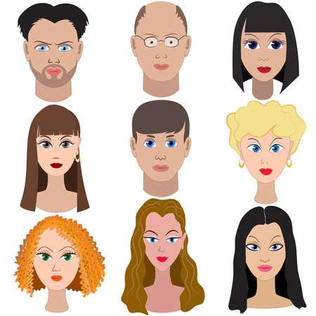 Ilustración de Set of portraits of people. Full face. - Imagen libre de derechos