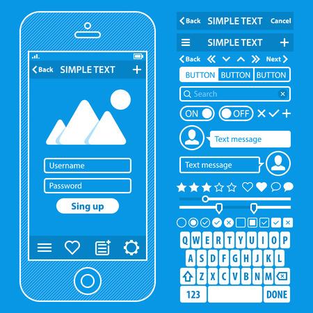 Illustration pour UI elements blueprint design vector kit in trendy color with simple mobile phone, buttons, forms, windows and other interface elements. - image libre de droit