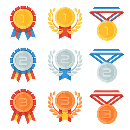 Illustration for Gold, silver, bronze medal in flat icons set. - Royalty Free Image
