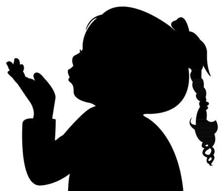 Illustration pour a child blowing out, silhouette - image libre de droit