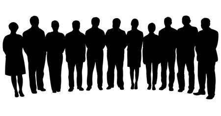 Illustration pour silhouettes of business people, standing in line  - image libre de droit
