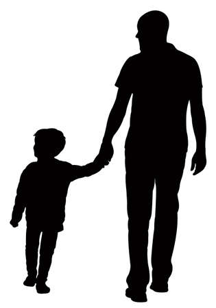Illustration pour father and son walking, silhouette vector - image libre de droit