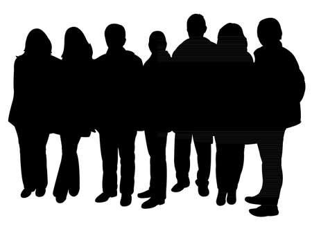 Illustration pour silhouettes of people standing in line - image libre de droit