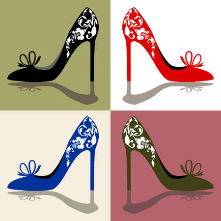 Silhouettes of womens shoes, high heels with ornaments, vector illustation