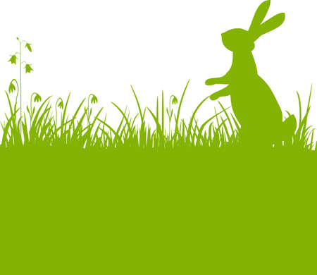 Easter bunny green background