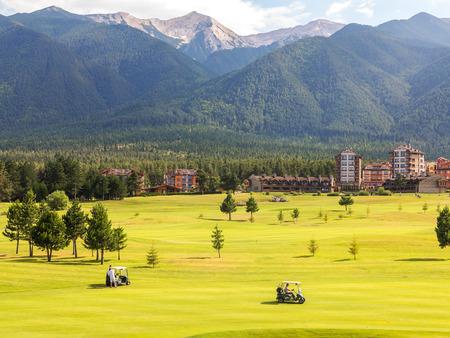 Razlog, Bulgaria - July 29, 2016: at the top of Pirin Mountain View (Todorka and Vihren) Golf Club in Razlog, Bulgaria July 29, 2016