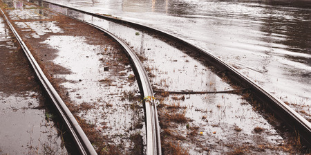 Flooded tramways during the floods caused by torrential rains. Disaster.