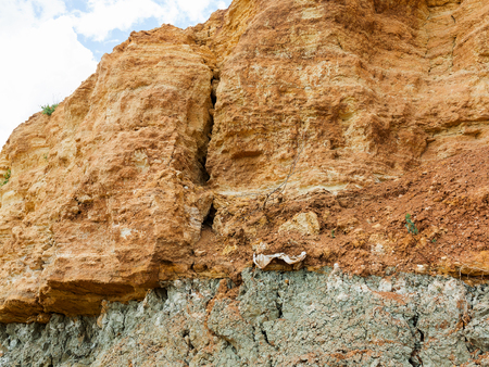 Photo pour Desert landscape with multi-colored yellow, green and blue clay deposits of minerals in geological formations - image libre de droit