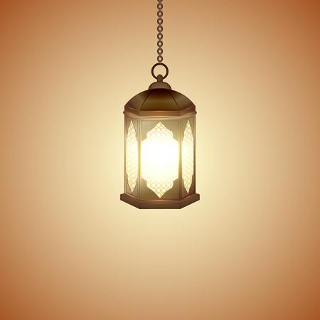 Illustration for Islamic lantern for Muslim Community festival. Bright beautiful arabic lamp. Graphic design element for greeting card, invitation, flyer, banner. Vector illustration - Royalty Free Image