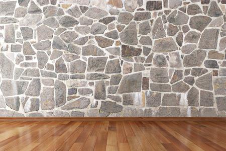 Foto de Empty room with stone wall and wooden floor - Imagen libre de derechos