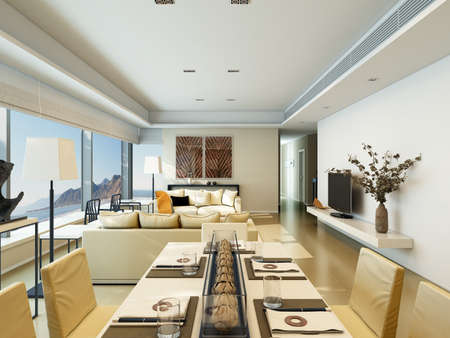 Interior of a modern house with living room and dining on coastline
