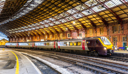 Photo for Passenger train at Bristol Temple Meads Railway Station, England - Royalty Free Image