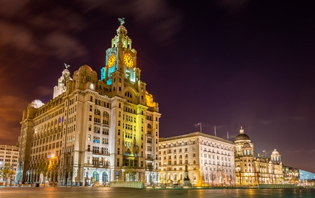 Photo for The Royal Liver, the Cunard and the Port of Liverpool Buildings - Royalty Free Image