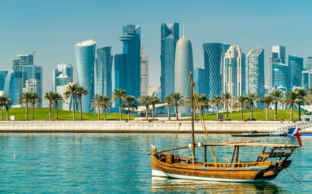 Photo for Traditional arabic dhows in Doha, Qatar - Royalty Free Image