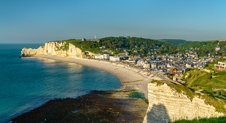Photo for Panorama of Etretat, a tourist town in Normandy, France - Royalty Free Image