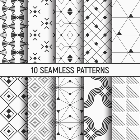 Illustration pour Set of ten seamless patterns. Abstract geometrical trendy vector backgrounds. Fashion design. Modern stylish textures with triangles, dots, rhombuses, squares, wavy lines. Repeating geometric shapes. - image libre de droit