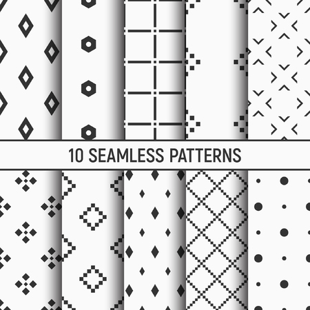 Illustration pour Set of ten seamless patterns with Abstract geometrical trendy vector backgrounds - image libre de droit