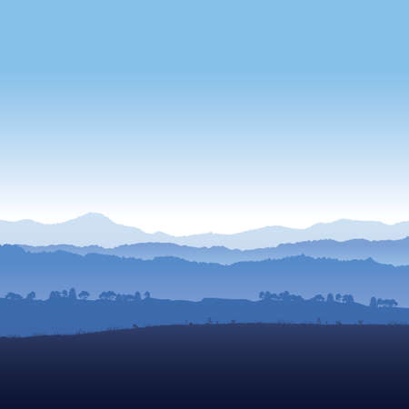 Illustration pour Vector illustration landscape of mountains in fog - image libre de droit