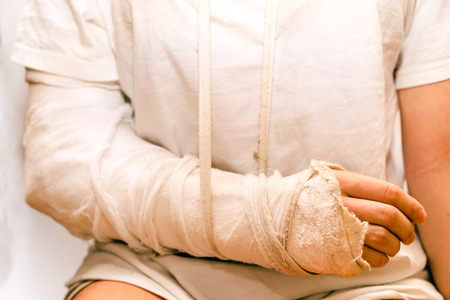 Photo pour medicine bandage on injury elbow - image libre de droit