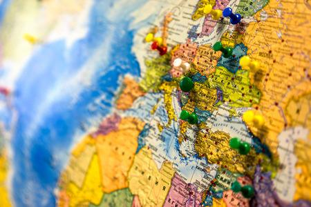 Photo pour Lot of push pins pointing at European countries, Russian map. - image libre de droit
