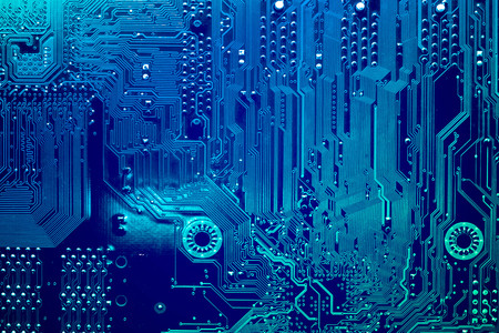 Photo pour Circuit board. Electronic computer hardware technology. Motherboard digital chip. Tech science background. Integrated communication processor. Information engineering component. - image libre de droit