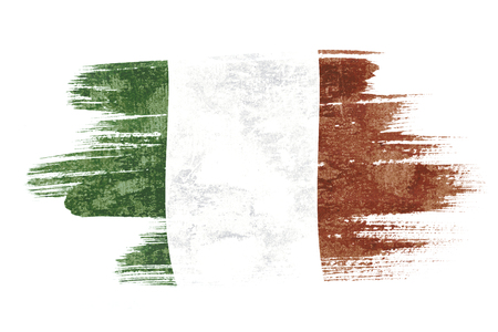 Photo pour Art brush watercolor painting of Italy flag blown in the wind isolated on white background. - image libre de droit