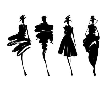 Illustration for Fashion models hand drawn silhouettes - Royalty Free Image