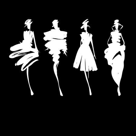 Photo pour Fashion models hand drawn silhouettes - image libre de droit