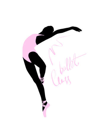 Illustrazione per Silhouette of a dancing girl. Ballet Dancer girl isolated. Vector illustration hand drawn. - Immagini Royalty Free