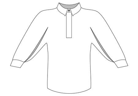 Illustration pour Vector illustration of blouse with band-collar and sleeves gradually widening down along the entire length and assembled on the cuff. . Front view technical sketch of women clothing. - image libre de droit