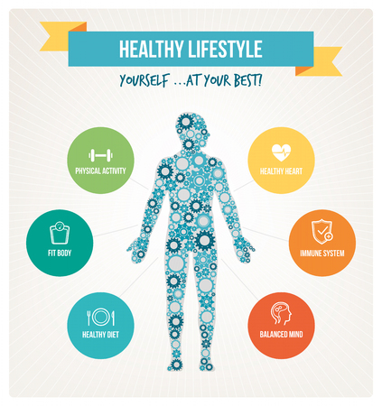 Photo for Healthy body and lifestyle concept infographics with human body composed of gears and healthy living icons set - Royalty Free Image