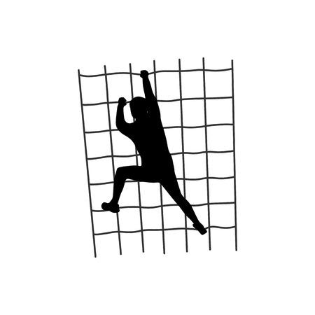 Ilustración de Silhouette of a figure climbing a net - Imagen libre de derechos