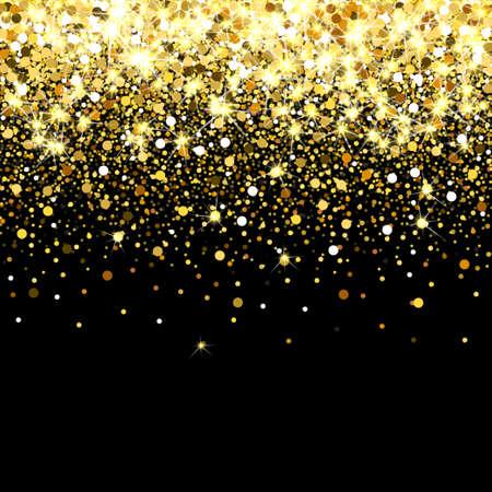 Ilustración de Falling golden particles on a black background. Scattered golden confetti. Rich luxury fashion backdrop. Bright shining gold. Gold round dots. - Imagen libre de derechos