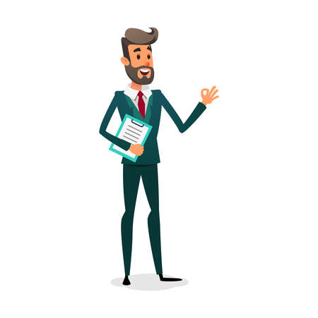 Illustration for Funny cartoon investor showing ok sign. The manager is in a suit with a beard. Design for business vacancy. - Royalty Free Image