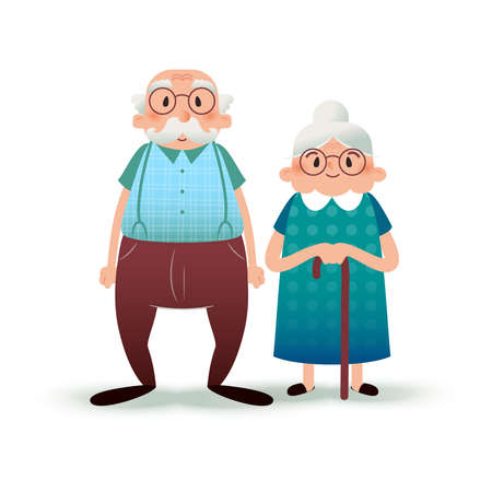 Foto de Happy cartoon senior couple. Fanny flat characters. Old man and old lady. Flat illustration on white background - Imagen libre de derechos