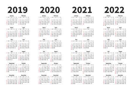 Illustration pour Calendar 2019, 2020, 2021 and 2022 year vector design template. Simple minimalizm style. Week starts from Sunday. Portrait Orientation. Set of 12 Months. - image libre de droit